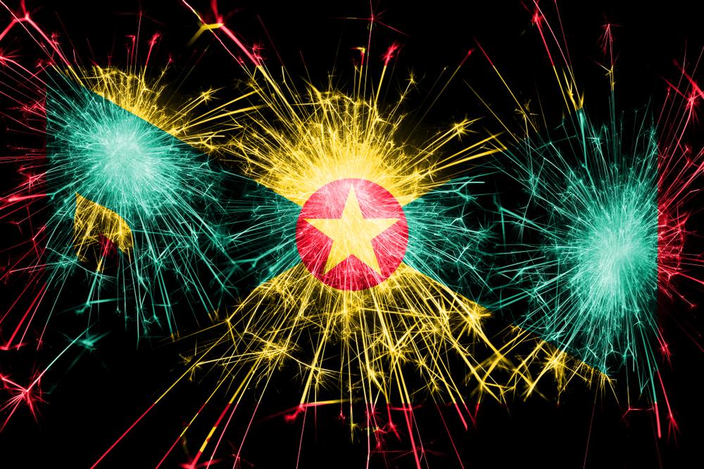 Grenada fireworks sparkling flag