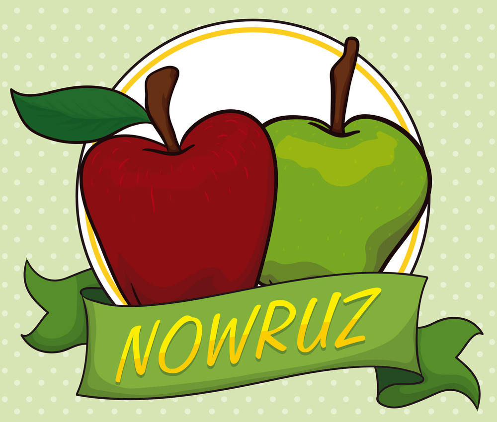 Couple of apples (Seeb in Haft-Seen tradition) behind a ribbon as health and beauty symbols for Nowruz