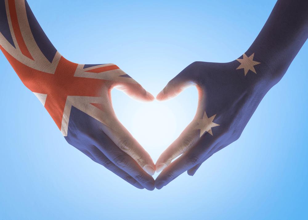 Australian flag pattern on people hands in heart shaped on Harmony Day 2019 in Australia