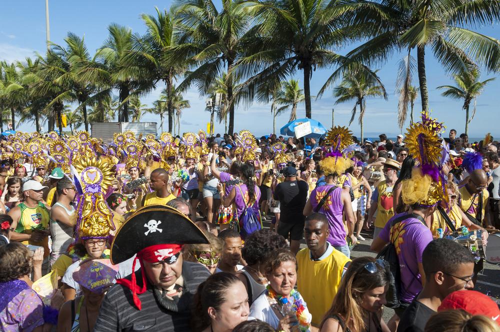 Brazilians celebrate at a carnival street party