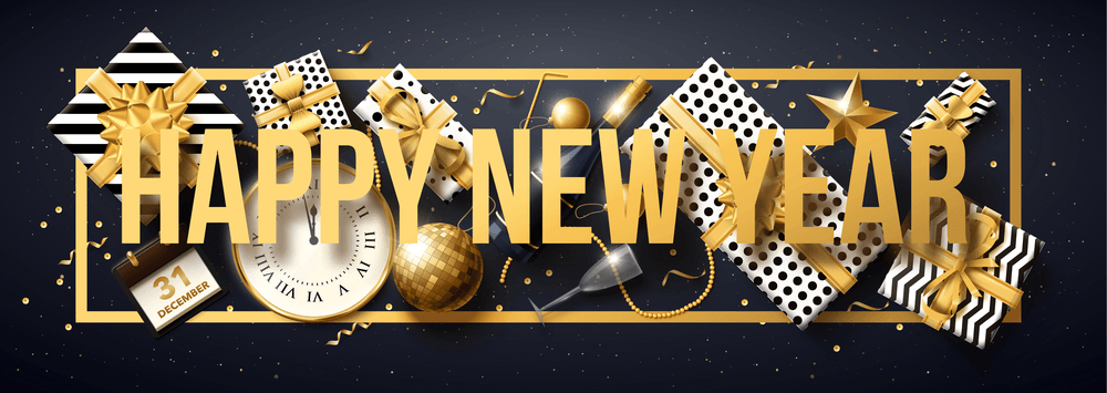 happy new year 2018 gold and black collors place for text christmas balls star champagne glass